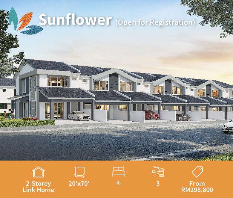rumah teres 2 tingkat sunflower